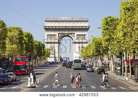 The Champs-�lys�es with the Arc De Triomphe