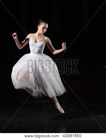 Portrait of young ballerina in rehearsal