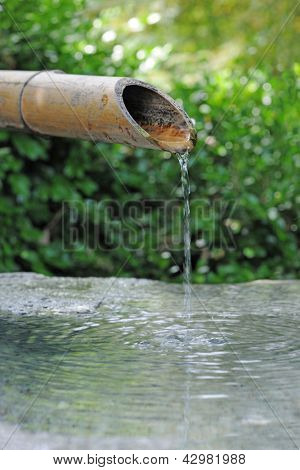 Japanese bamboo fountain with water dripping from snout