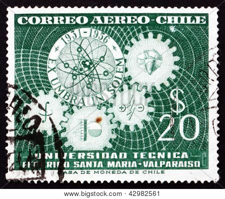Postage Stamp Chile 1956 Symbols Of University Departments