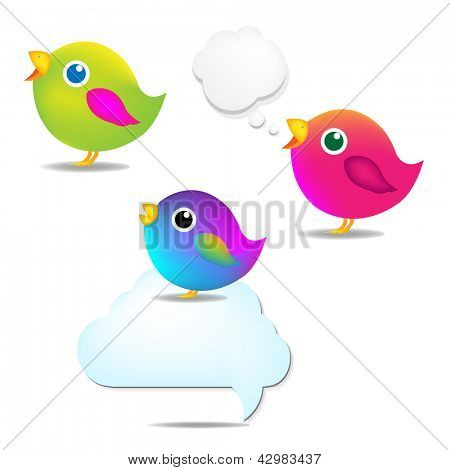 Color Birds Set With Speech Bubble, Isolated On White Background, Vector Illustration