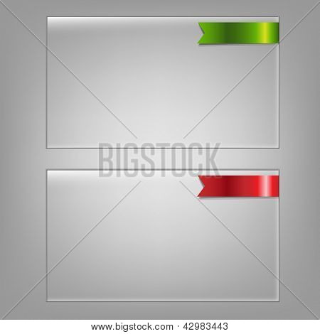 2 Glass Frame Set, Isolated On Grey Background, Vector Illustration