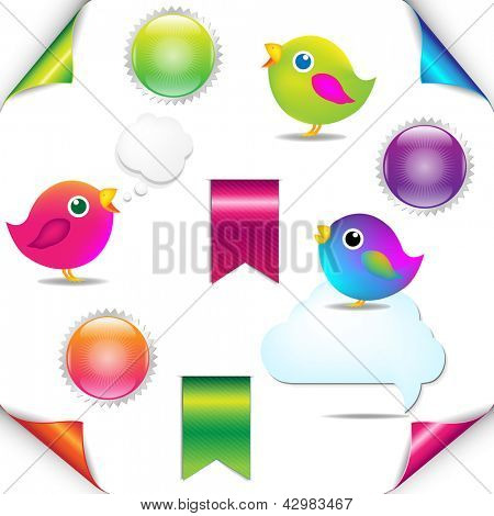 Colorful Birds Set With Ribbon And Speech Bubble, Isolated On White Background, Vector Illustration