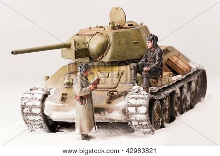 Diorama with old soviet t 34 tank