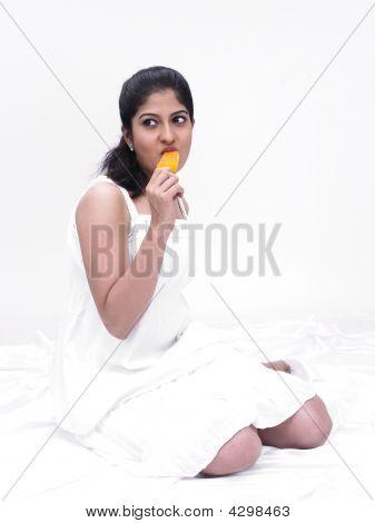 Woman Eating An Ice Cream