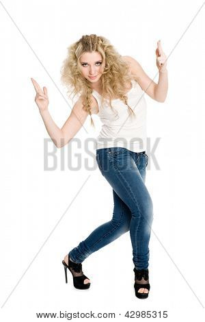 Slim young blond girl dancing hip hop.