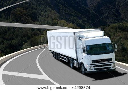 Semi Truck In Montain