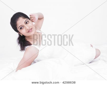 Woman Of Indian Origin With Her Negligee