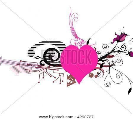 Pink  Floral Valentine's  Heart