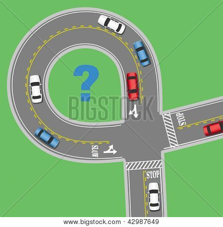 Cars drive around to find travel information on two lane traffic circle