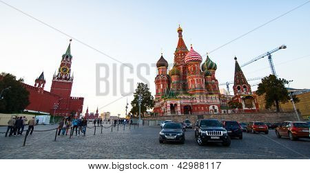 MOSCOW - SEPTEMBER 19: Kremlin and St. Basil's Cathedral in Red Square on September 19, 2012, Moscow. Red Square is main city square, around 330 meters (1,100 ft) long and 70 meters (230 ft) wide.