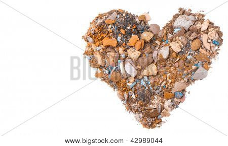 heart shaped crushed eyeshadows isolated on white background