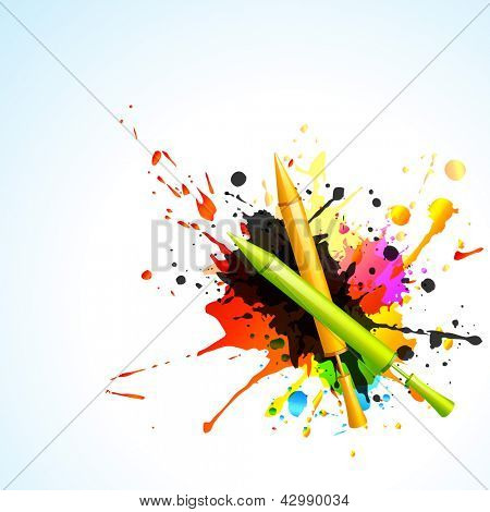 vector pichkari with colorful splashes indian holi festival