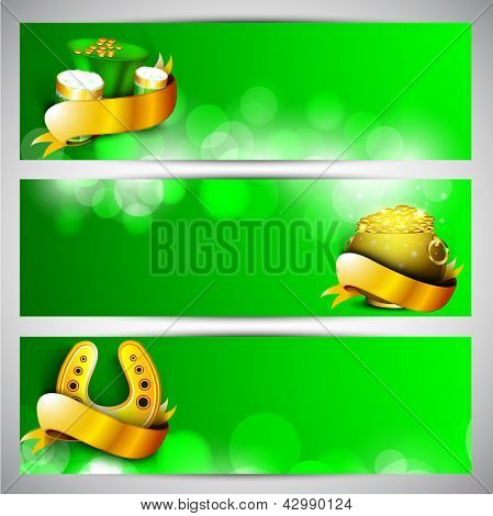 Website header or banner set for St. Patrick's Day celebration with gold coins pot, beer mugs and horseshoe in golden ribbon.