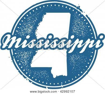 Vintage Style Mississippi USA State Stamp