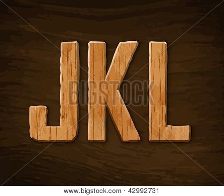 Alphabet made of wood. Vector illustration.