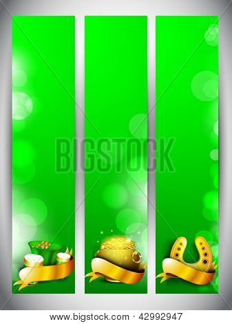 Website banner set for St. Patrick's Day celebration with gold coins pot, beer mugs and horseshoe in golden ribbon.