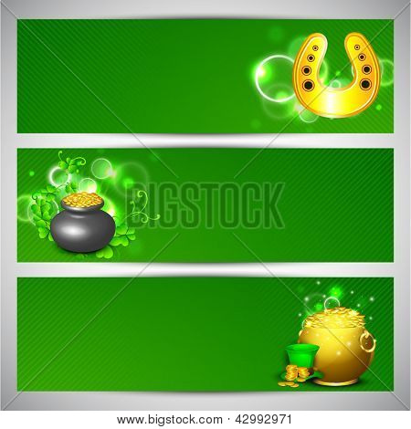 Website header or banner set for St. Patrick's Day celebration with gold coins pot, beer mugs and horseshoe.