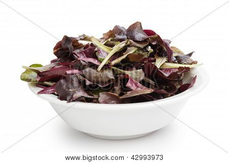 Purple Spinach Leaves In Bowl