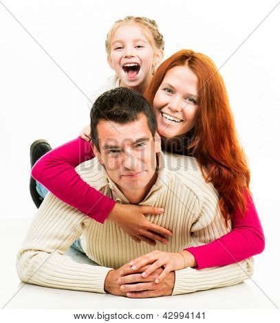 Smilimg happiness family on the white background