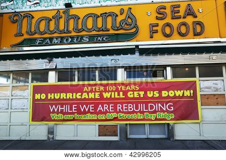 The Nathan's rebuilding after damage by Hurricane Sandy at Coney Island.