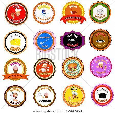 Conjunto de iconos de vector y elementos para el alimento