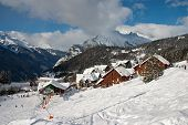 stock photo of oz  - View on the Oz en Oisans Station in the French Alps - JPG