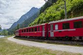 image of engadine  - Swiss mountain train Bernina Express from Tirano to St - JPG
