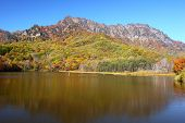 Mountain and pond in autumn