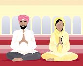 stock photo of salwar-kameez  - an illustration of a sikh man and woman in traditional punjabi clothing praying in a gurdwara with yellow walls and arched windows - JPG
