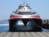 picture of hydrofoil  - Greek hydrofoil ferry just docked in mykonos - JPG