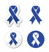 stock photo of overdose  - The internationl symbol blue ribbons signs set - JPG