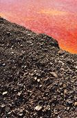 stock photo of open-pit mine  - Detail of the red acid water pond in S - JPG