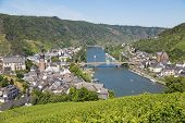 image of moselle  - Aerial view at Cochem and river Moselle in Germany - JPG