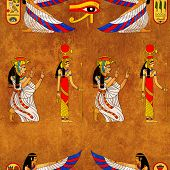 image of isis  - Seamless background with Egyptian goddess Isis image - JPG