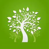 stock photo of cutting trees  - Abstract vector trees on green background - JPG