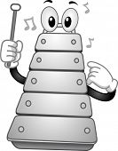 stock photo of idiophone  - Illustration of a Xylophone Mascot holding a percussion mallet - JPG
