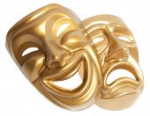 stock photo of pantomime  - Comedy  and  Tragedy theatrical mask isolated on a white background - JPG