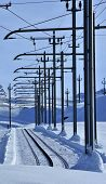 Railway Lines In Snow