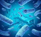 stock photo of germs  - Hospital germs as bacteria and bacterium cells floating in microscopic space as a medical concept of bacterial disease infection in a medical facility or Doctor examination office - JPG