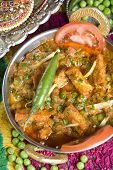 foto of paneer  - Indian vegetarian dish with paneer and peas in a spicy sauce - JPG
