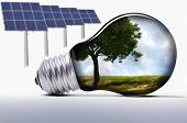 stock photo of photosynthesis  - solar system with solar panels and lamp - JPG