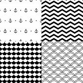 Black and white vector navy seamless patterns set: anchors, scalloped, chevron
