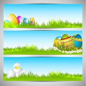Website header or banner set  with painted eggs on nature background for Happy Easter.