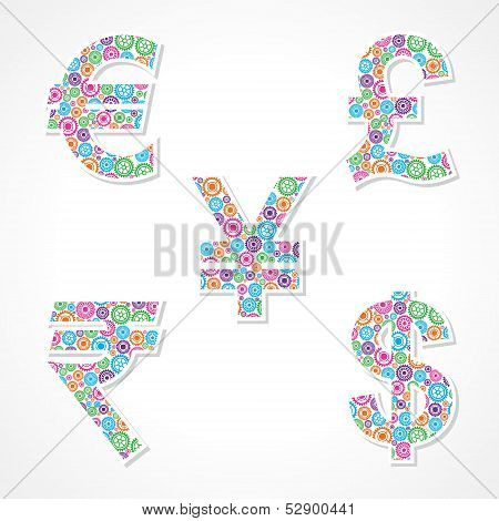 Group of gear make currency symbols stock vector