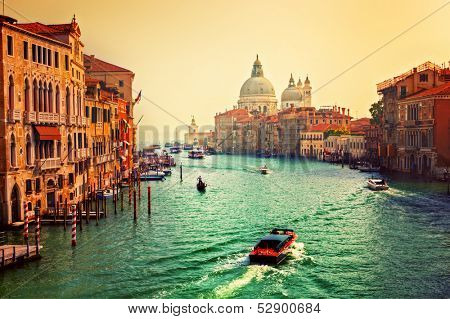 Venice, Italy. Grand Canal and Basilica Santa Maria della Salute at sunset. View from Ponte dell Accademia
