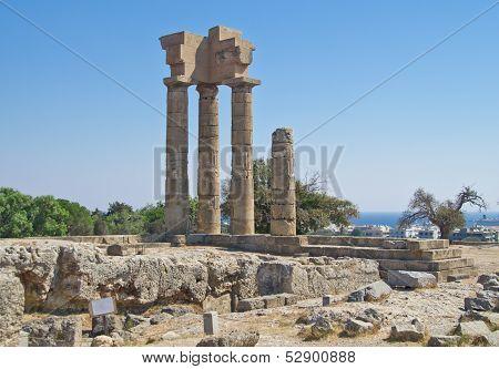 Ruins Of Acropolis In Rhodes