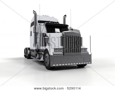 White Heavy Truck Isolated On White Background