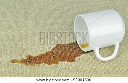 A spilled cup of coffee