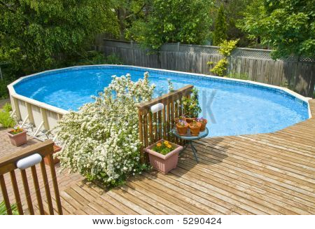 Above The Ground Swimming Pool And Deck